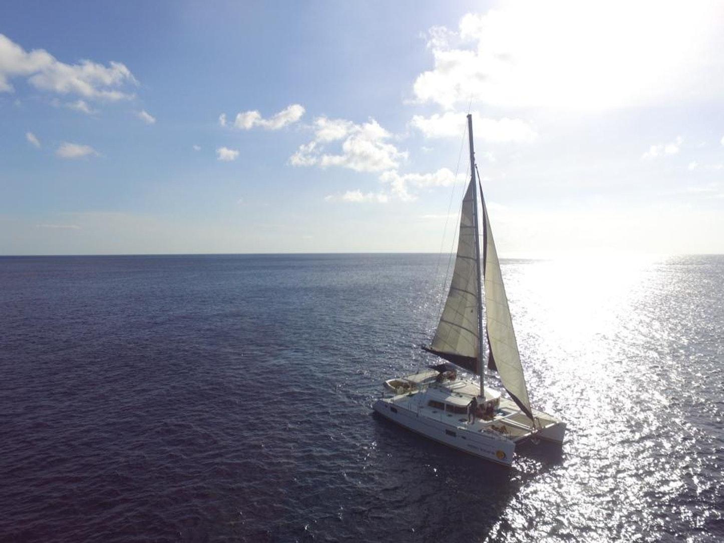 Catamaran sailing in bonaire